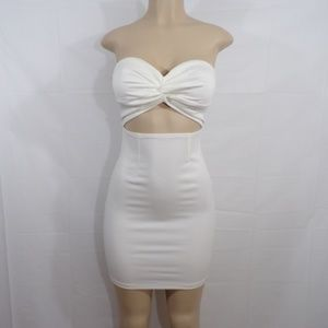 Miss Circle White Cutout Bodycon, Sz XS